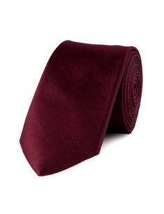 Men's Plain Bordeaux 100% Silk Slim Fashion Tie