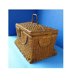late 1800's / early 1900's Woven Antique Sewing Basket