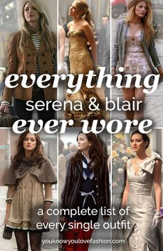 "Ever Wore on ""Gossip Girl"" Everything Serena Ever Wore on ""Gossip Girl""Serena Ever Wore on ""Gossip Girl"" Everything Serena Ever Wore on ""Gossip Girl"" How to dress like Blair Waldorf Gossip Girl Blair, Gossip Girls, Mode Gossip Girl, Gossip Girl Serena, Estilo Gossip Girl, Gossip Girl Outfits, Gossip Girl Fashion, Fashion Tv, Gossip Girl Clothes"