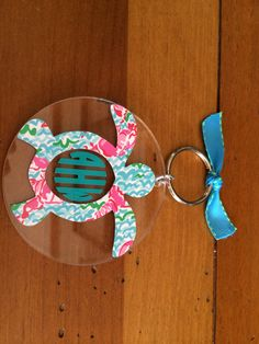 """Monogrammed 3"""" Lilly Pulitzer Inspired Laser Cut Acrylic Keychain"""