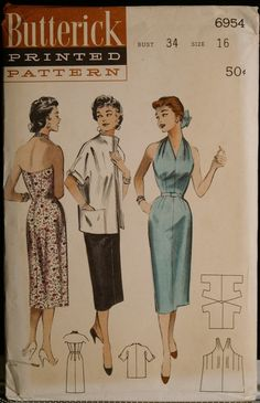 Vintage 50s Sewing Pattern Misses Halter Wiggle by olivealley, $42.00