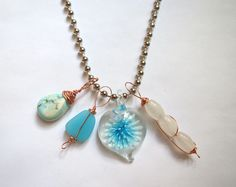 """Genuine Turquoise, Flourite, Sea Glass, and fused glass pendant necklace on 18"""" ball chain.  $28, free US shipping, http://www.emeraldcitycustomjewelry.com"""