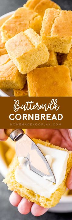 Buttermilk Cornbread! A subtly sweet and spongy buttermilk cornbread that makes a perfect side to any dinner or holiday. It's a southern tradition for a reason! | HomemadeHooplah.com