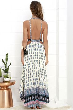 Learn to Fly Cream and Blue Print Maxi Dress at Lulus.com!
