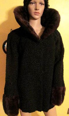 Vintage Black Persian Lamb Coat with Mink by MISSVINTAGE5000