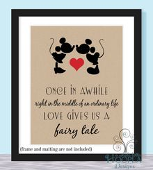 Mickey and Minnie Print - Once in Awhile Love Gives Us a Fairy Tale