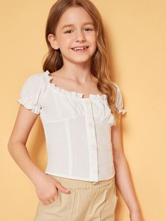 To find out about the Girls Ruffle Trim Buttoned Front Shirt at SHEIN, part of our latest Girls Blouses ready to shop online today! Cute Little Girls Outfits, Toddler Girl Outfits, Trendy Outfits, Kids Outfits, Cute Outfits, Tween Fashion, Fashion Wear, Girl Fashion, Girls Blouse