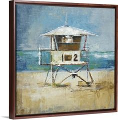 """Boardwalk Pier"" canvas print by Liz Jardine, pictured in a Walnut Floating Frame. See more sizing and more framing options available for this beach-inspired wall art at GreatBIGCanvas.com."
