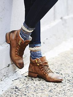 Free People Ventura Hiker Boot | Lace-up washed leather hiker boots with hand-stitched leather soles.  *By Free People