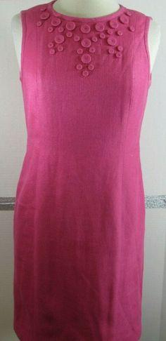 26725e4974 Talbots Sheath Dress Size 6 Petites Dark Pink Textured Cotton Linen blend  GRUC #Talbots #