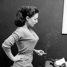 sexy and smoking typist, 1950.