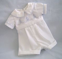 Heirloom Style Baby Boy Christening Romper :)