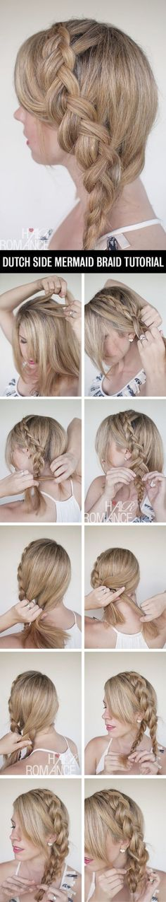 A Dutch Side Mermaid Braid - 12 Braid Hair Tutorials