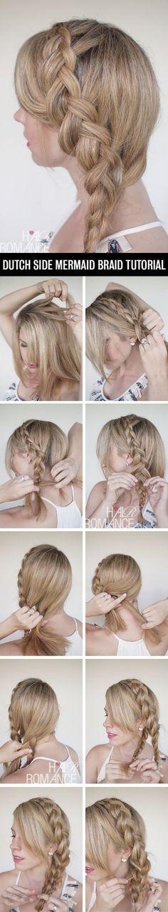 A Dutch Side Mermaid Braid - 12 Braid Hair Tutorials