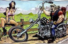 Tattoo Mountain Old School David Mann 25 Super Ideas Motorcycle Helmet Design, Motorcycle Art, Bike Art, Harley Davidson Wallpaper, Harley Davidson Art, Baggers, Choppers, Motard Sexy, David Mann Art