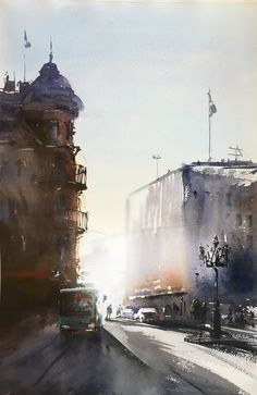 Stora Torget on a afternoon, Watercolor Stefan Gadnell Niagara Falls, Watercolor, Painting, Travel, Urban Landscape, Watercolor Painting, Landscapes, Garden Plants, Pen And Wash