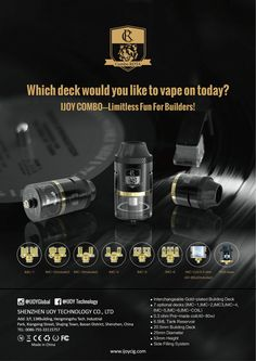 IJOY COMBO RDTA  Parameters: ● Interchangeable Gold-plated Building Deck ●7 optional decks (IMC-1,IMC-2,IMC3,IMC-4,IMC-5,IMC-6,IMC-COIL) ●0.3 ohm Pre-made coil(40-80w) ●6.5ML Tank Reservoir ●20.5mm Building Deck ●25mm Diameter ●53mm Height ●Side Filling System  Authentic ijoy products,get the first batch from me. Skype:linbonnie16@163.com WhatsApp:+86 15012560090