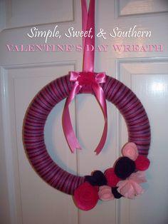 Valentine's Day Wreath using yarn and felt