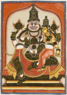 Narasimha and Lakshmi century, Photograph taken in Mysore, Karnataka, India Opaque watercolor on paper with applied gold-coated paper Mysore Painting, Tanjore Painting, Silk Painting, Indian Art Traditional, Traditional Paintings, Indian Temple Architecture, Shiva Photos, Ornament Drawing, Lakshmi Images