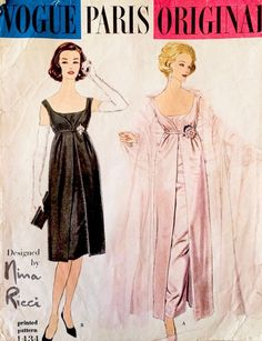 Vintage Vogue Paris Original Sewing Pattern 1432 by Nina Ricci Vintage Vogue Patterns, Vogue Sewing Patterns, Clothing Patterns, Pattern Sewing, Vestidos Vintage, Vintage Dresses, Vintage Outfits, Vintage Fashion, Dress Making Patterns