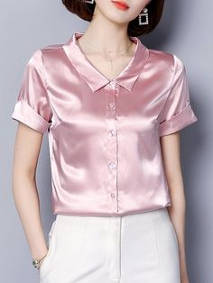Casual Daytime Shift Summer Solid Blouse