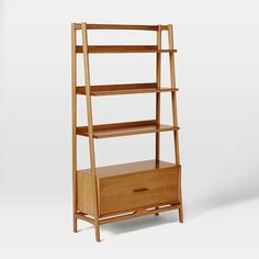 Mid-Century Bookshelf - Tall Wide | West Elm left side of fireplace with the narrow version of this on right?