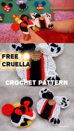 Cruella Mouse Ears Free Crochet patternThis awesome villain ornaments will look great on your Christmas Tree! Ornaments are the perfect, handmade addition for you to work up and add to your Christmas decorations. Crochet Simple, Easy Crochet Patterns, Amigurumi Patterns, Knitting Patterns, Craft Patterns, Doll Patterns, Crochet Beret, Crochet Toys, Free Crochet