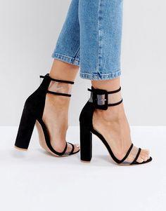 c63ad08860a  ASOS -  Public Desire Public Desire Mission Black Clear Strap Block Heeled  Sandals -