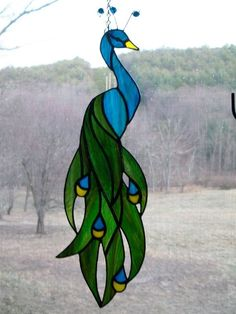 Stained glass peacock by ShinyStuffGlass on Etsy Stained Glass Birds, Stained Glass Suncatchers, Stained Glass Designs, Stained Glass Panels, Stained Glass Projects, Stained Glass Patterns, Leaded Glass, Fused Glass, Window Glass