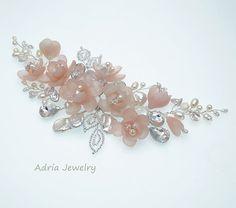 Pink Bridal Hair Piece Blush Wedding Head Piece by adriajewelry