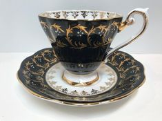 Royal Standard Tea Cup and Saucer, Black Gold Cups, Antique Teacups, English Bone China Cups, Tea Cups Vintage, Made in England