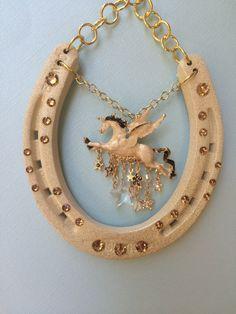 Horseshoe art, lucky horseshoe, decorated horseshoe, horseshoe decor, horseshoe, horse, by NotJustLuck on Etsy