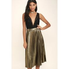 Eclipse of the Heart Gold Midi Skirt ($47) ❤ liked on Polyvore featuring skirts, gold, pleated midi skirt, high waisted pleated skirt, high-waist skirt, calf length skirts and high-waisted skirts