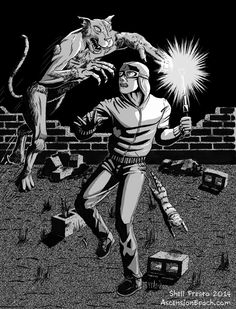 "Torrent is ambushed by the Werecat of Hazelwood. Art from ""After Dark"" by Shell Presto."