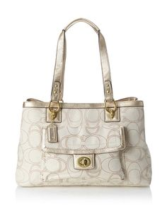 Women's Shoulder Bags - COACH Penelope Linen Signature Carry All  IvoryGold -- Details can be found by clicking on the image.