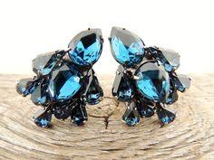 vintage 1950s clip-ons earrings. BLUE.