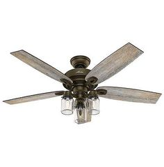 "52"" Indoor Rustic Farmhouse Industrial Bronze Ceiling Fan Mason jar Weathered"