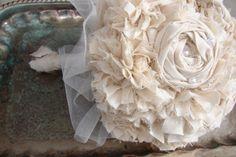 Handmade Fabric Bouquet Vintage Flower by AutumnandGraceBridal, $150.00