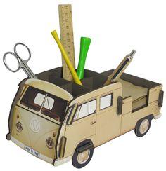 Ξύλινο σπίτι Κρέμα γραφείο Stiftebox VW Bulli T1 Πλατφόρμα Μπεζ