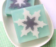 Snowflake Soap Mistletoe FLAKE Christmas by SunbasilgardenSoap, $7.00