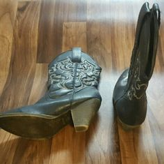 Nay blue rampage cowboy boots Navy blue boots with white stitching and silver studs! Super cute, gently worn 2 times Rampage Shoes Heeled Boots