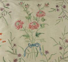 PRINTED SILK OPEN ROBE, FRENCH, 1755 - 1775. - Price Estimate: $400 - $600