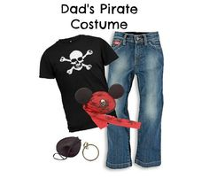 "DIY Men's Pirate Costume Disney Cruise- some good ideas. You will find all different types of costumes on pirate night. I tucked black gouchos into my black boots and wore a white ""billowy"" shirt. I also found a cute costume for my 8 yr old on ebay."