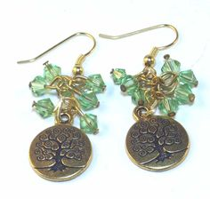 Tree of Life Gold and Green Swarovski Crystal by lindab142 on Etsy