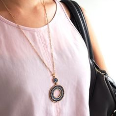 Blue and Gold Long Medallion Necklace #UsTrendy www.ustrendy.com
