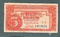 5 kčs 1949 serie A4 neperforovana Commemorative Coins, Czech Republic, Postage Stamps, Notes, Stop It, Coining, Money, Archive, Nostalgia