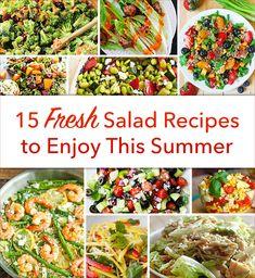 Fresh, Healthy Summer Salad Recipes Fresh Salad Recipes, Summer Salad Recipes, Healthy Salad Recipes, Summer Salads, Healthy Summer, Healthy Foods, Dukan Diet Food List, Homemade Dressing Recipe, Blueberry Salad