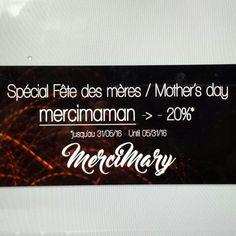 Spécial fête des mères / mother's day code : mercimaman -> -20%* sur toute la boutique MerciMary sur Etsy !   *jusqu'au 31/05/16 seulement.