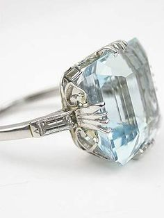 Classic Vintage Aquamarine Ring, RG-2785...And oh my gosh the side is like a claddagh ring!! Choice two (lvlup)