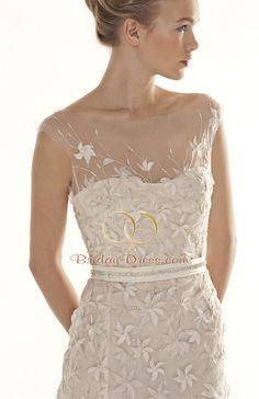 sleeveless sheath beaded wedding dress illusion sweetheart neckline belt - Google Search